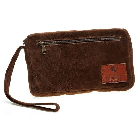 Courteney Cheque Book Bag in Chocolate Suede