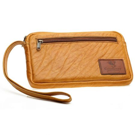 Courteney Cheque Book Bag in Honey Leather