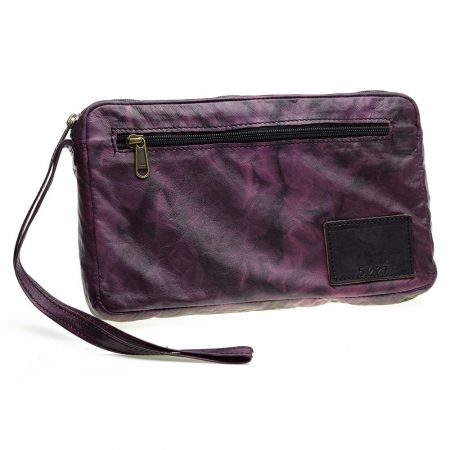 COurteney Cheque Book Bag in Plum Crush Leather