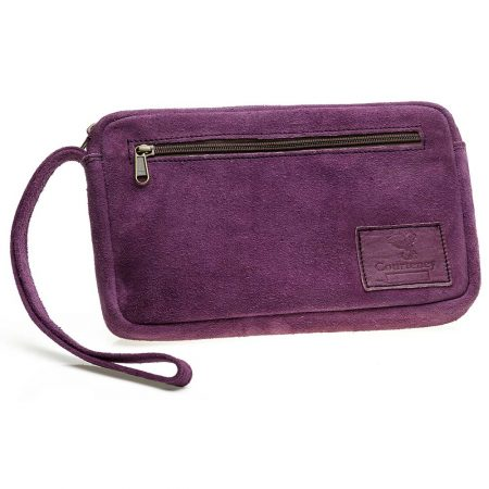 Courteney Cheque Book Bag in Plum Suede