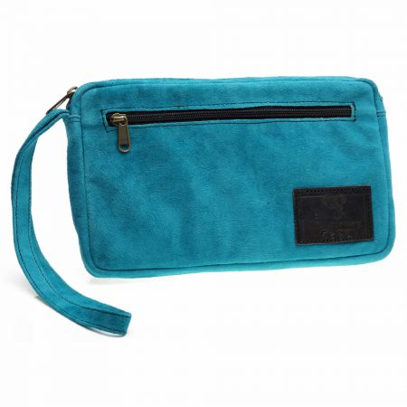 Cheque Book Bag Turquoise Suede