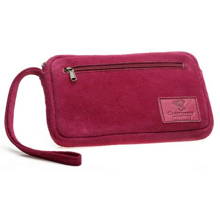 Cheque Book Bag in Berry Suede