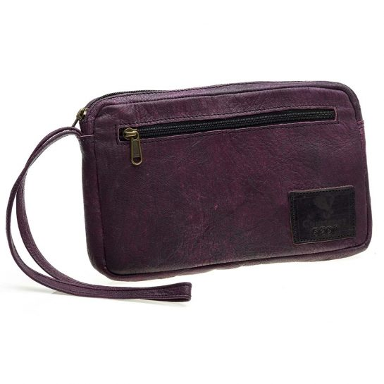 Cheque Book Bag in Plum Leather