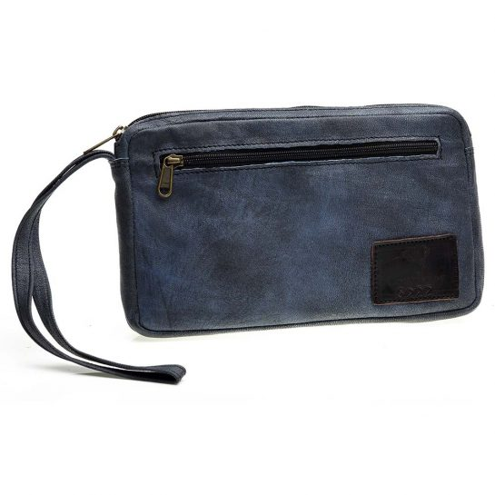 Courteney Cheque Book Bag in Stonewash Grey Leather