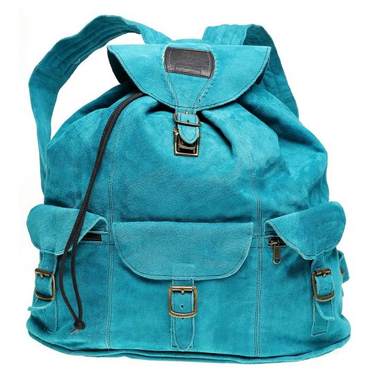 Haversack-Turquoise-Suede